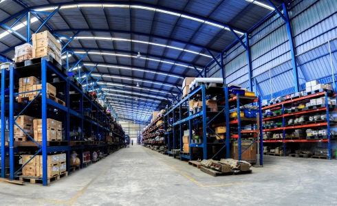 Warehouse with boxes on shelves