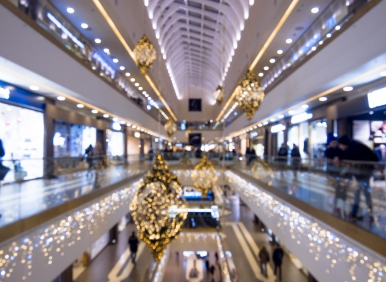 Time Of Christmas Sales, Shopping Center, Festively Decorated