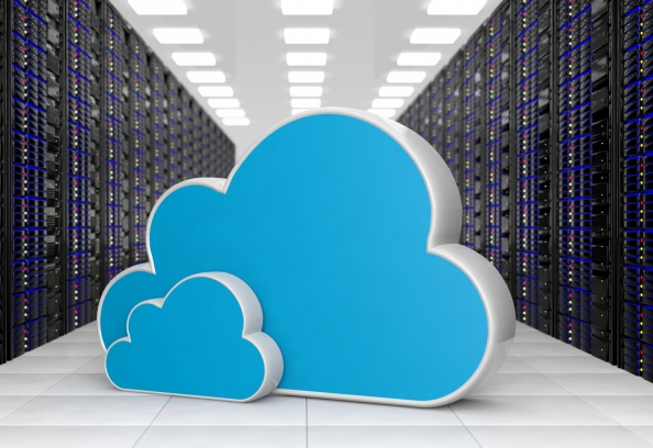 clouds and server room