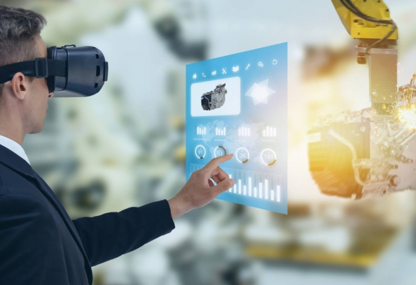 Industrial Engineer Using Smart Glasses With Augemented Mixed Reality