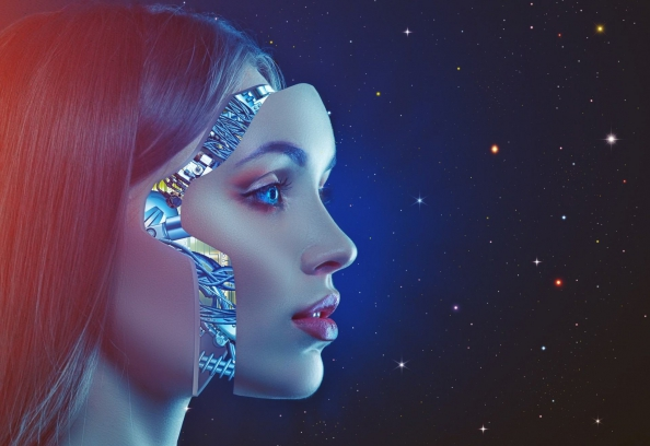 Cyborg Woman Whose Face Is Lifting Off