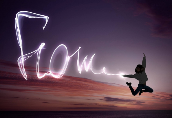 Flow Pattern In Lights With Woman Dancing