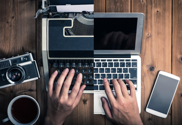Digital Transformation Example A Typewriter Morphs Into A Laptop