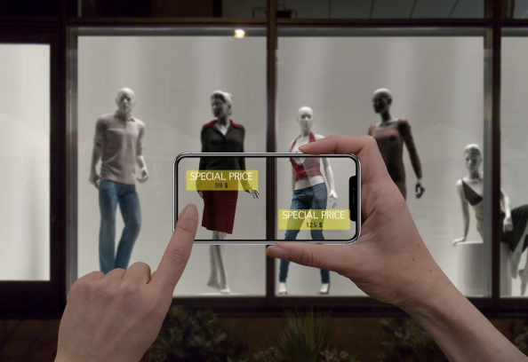 Digital Tablet Smart Phone Use AR Application To Check Special Sale Price In Retail Fashion Shop